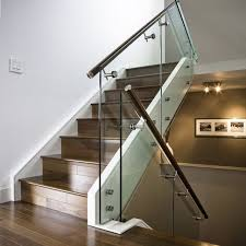Glass Stair Handrail Hand Made Maple Stair With Glass Railing And Stainless Steel
