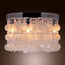 Chandeliers For Living Room Lightinthebox Modern White Shell Crystal Home Ceiling Light