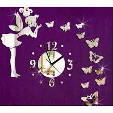 aglaia fairy butterfly acrylic mirror wall clock girls bedroom aglaia fairy butterfly acrylic mirror wall clock girls bedroom decoration amazon co uk kitchen home