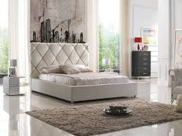 6200 bed in white leather match by esf w optional nightstands