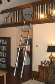 retractable loft stairs wooden ladder with handrail home decor how