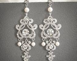 Vintage Pearl Chandelier Earrings Vintage Bridal Earrings Silver Filigree Earrings Antiqued