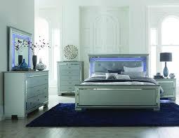 homelegance allura 4 piece panel bedroom set w led lighting in