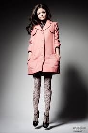 lucy hale wearing lacoste dress a p c coat anna sui for leg