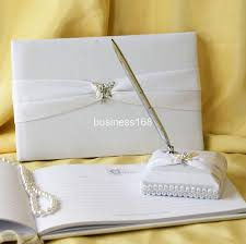 wedding guest book set wedding ideas wedding guest book with pen set ivory 50th