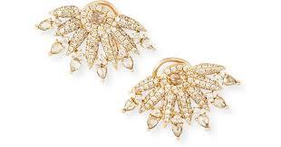 outhouse earrings 18k gold diamond fan earrings in metallic lyst