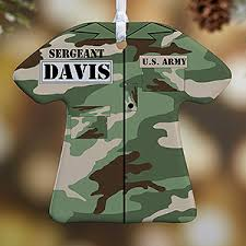 personalized ornaments army 1 sided