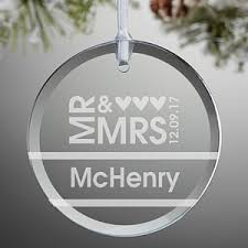 personalized glass wedding ornaments mr mrs