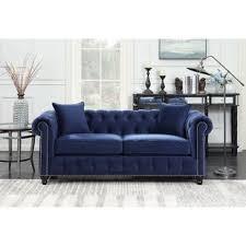 navy blue sofa and loveseat navy blue tufted sofa wayfair