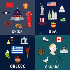 kanada fläche flache ikonen usa china griechenland und kanada reise vektor