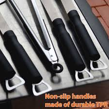 5 piece stainless steel bbq tools set non slip handles u2013 aspectek