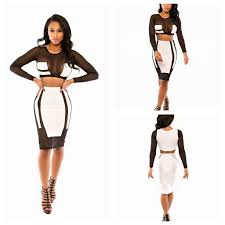 new years club dresses winter new women fashion black voile white patchwork bodycon
