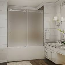 perfect frosted sliding shower doors frame stainless steel glass