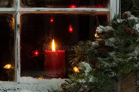 light up christmas candles glowing christmas candle in frosted home window stock image image