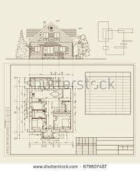 House Blueprint by Authors Design Residential House Blueprint Plan Stock Vector
