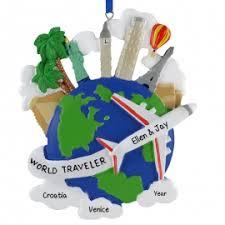 world travelers airplane globe ornament personalized ornaments