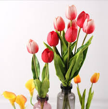 aliexpress com buy pu real touch tulip artificial faux flowers
