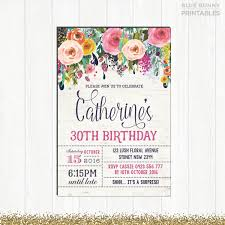 30th birthday invitation woman floral invitation rustic