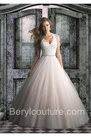 two color wedding dress gown scalloped neck two color tulle lace wedding dress crystals sash
