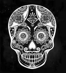 Day Of The Dead White Hand Drawn Day Of The Dead Holiday Dia De Los Muertos In Spanish