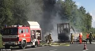 18 dead as crashes and bursts into flames in germany daily