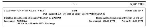 bureau impots bureau des impots lovely b o i n 100 du 6 juin 2002 boi 5e 4 02
