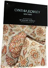 Cynthia Rowley Drapery Rowley Alina Jacobean Flowers Paisley Scrolls Window Panels Set Of