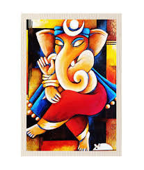 Canvas Without Frame Mesleep Divine Lord Ganesha Canvas Painting Without Frame Combo