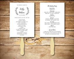 Wedding Program Template Fan Wedding Program Fan Template Printable Rustic Wedding Fan