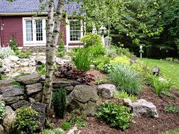 Landscaping Ideas For Slopes Various Kind Of Trees And Colorful Flowers Also Plants For