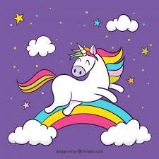 imagenes de unicornios en caricatura fondo morado de nubes y arcoiris con unicornio saltando descargar