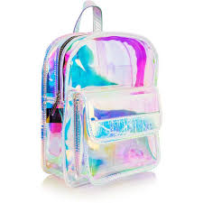 holographic bags clear holo backpack 50 liked on polyvore featuring bags