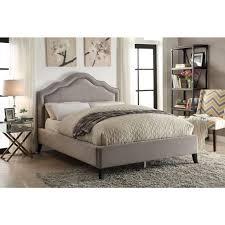 worldwide bellagio queen velvet platform bed with stud detail