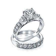 wedding engagement rings silver clear cz heart side stones wedding engagement ring set