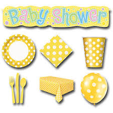 unisex baby shower 44 item set dots yellow white neutral unisex baby shower