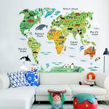 Large Wall World Map by Aliexpress Com Buy Pvc Animals Large Wallpaper World Map Wall