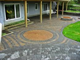 pleasant brick patio designs with fire pit for home interior