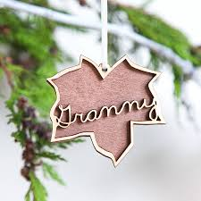 personalised luxury leaf christmas decoration by clouds and