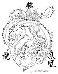commission phoenix and dragon tattoo design by dawnstarw ink a
