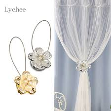 Tie Back Curtains Aliexpress Com Buy Lychee 1pc Gold Silver Flower Wire Curtains