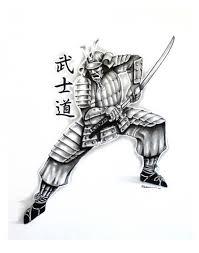 black and grey samurai with sword tattoo design