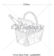 clip art vector of picnic basket with wine hand drawn realistic