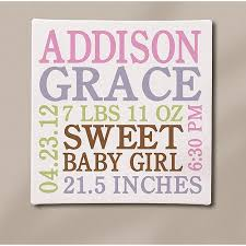 personalized baby info canvas 11 x 11 available in pink or