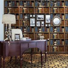 livingroom bar haokhome vintage retro vinyl bookshelf design embossed wallpaper