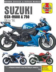 suzuki gsx r600 u0026 750 06 16 haynes repair manual haynes