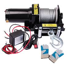 amazon com yescom 2000 lb 0 9hp electric recovery winch free