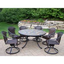 Patio Dining Sets Seats 6 - oakland living stone art all weather wicker swivel patio dining