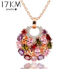 crystal necklace store images 17km trendy alloy link chain colorful round crystal pendant jpg