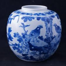 hand painted chinese blue and white ginger jar with birds early