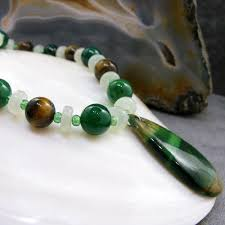 green agate necklace images Unique green agate pendant necklace with jade tigers eye jpg